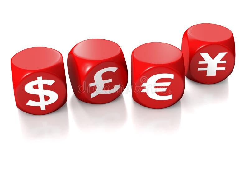 Simboli del dollaro, della libbra, dell'euro e di Yen illustrazione vettoriale