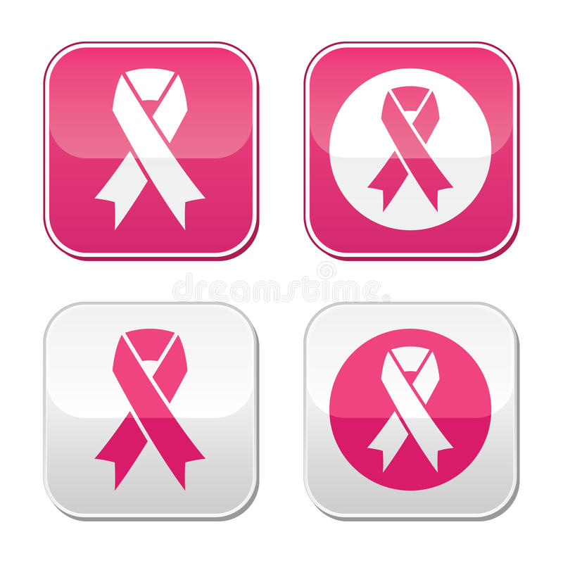 Simboli del nastro per i bottoni di consapevolezza del cancro al seno royalty illustrazione gratis