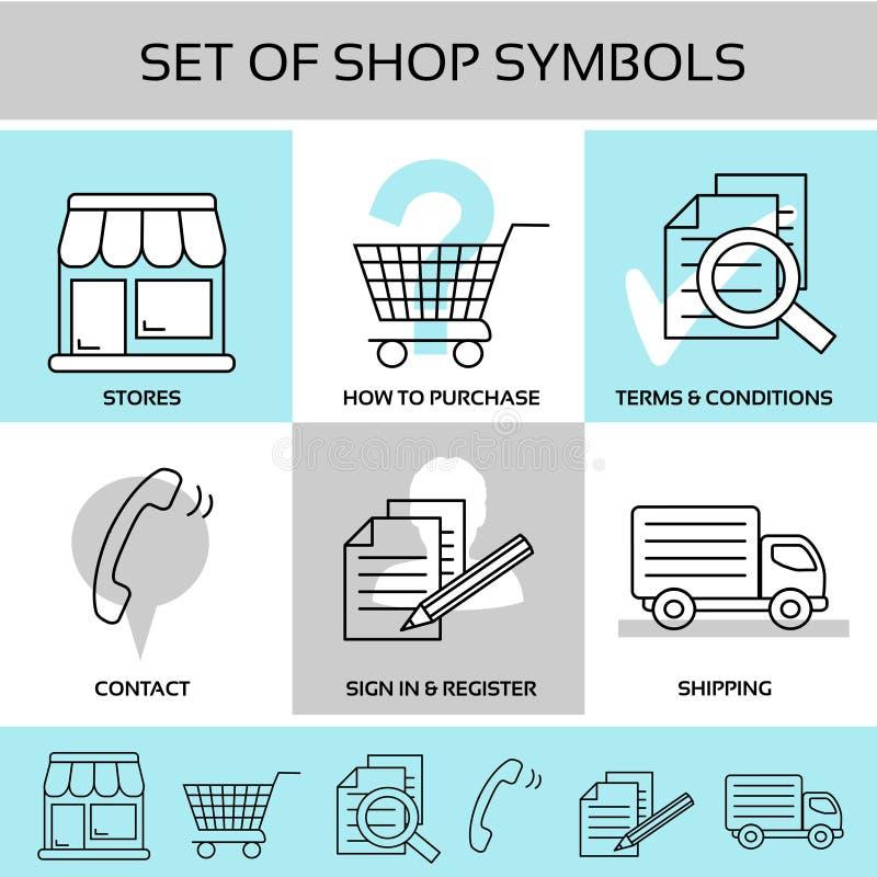 Simboli del negozio, navigazione - i depositi, come acquistare, termini e condizioni generali, contatto, firmano dentro e registr royalty illustrazione gratis