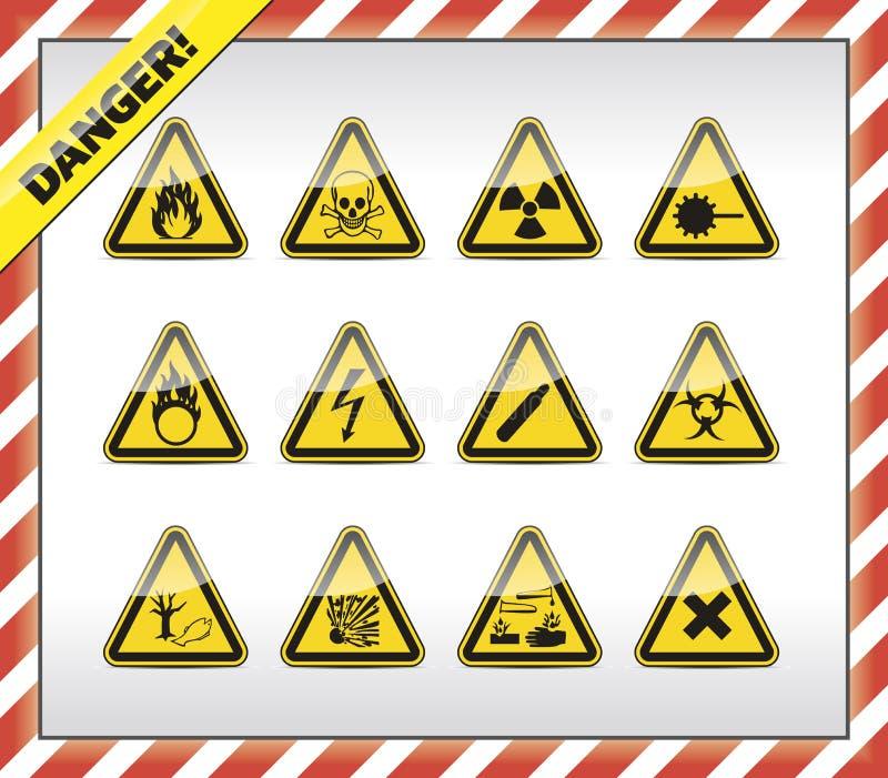 Simboli del pericolo immagini stock libere da diritti