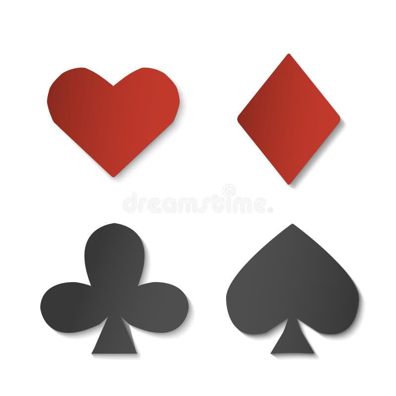 Simboli del segno della carta da gioco La carta ha messo di quattro forme Illustrazione di vettore per il casinò ed i giochi del  illustrazione di stock