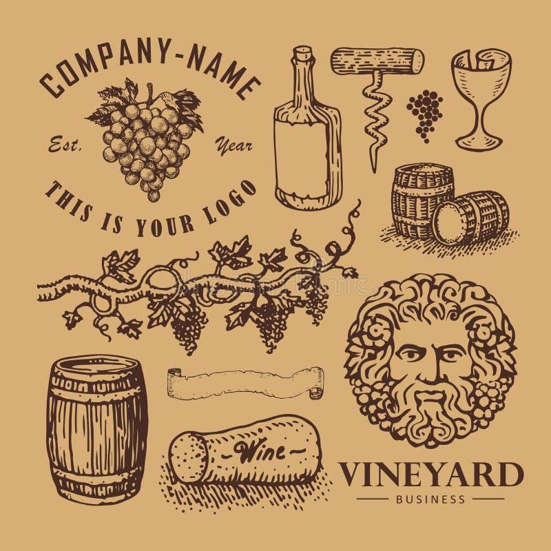 Simboli del vino illustrazione di stock