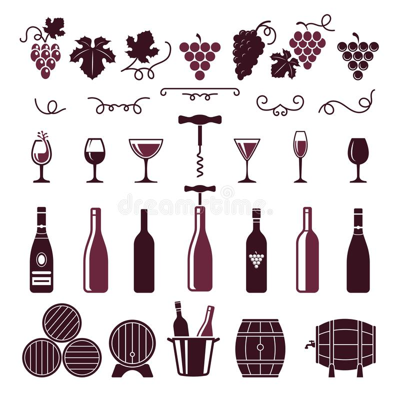 Simboli del vino L'uva lascia i barilotti delle bottiglie dei viticci della vite il vettore della cavaturaccioli che ha stilizzat illustrazione di stock