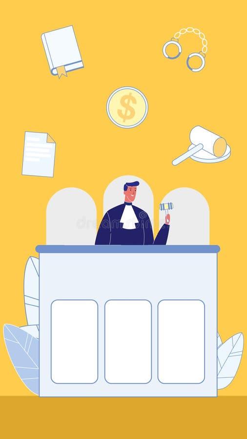 Simboli dell'illustrazione piana di vettore di legge e ordine royalty illustrazione gratis