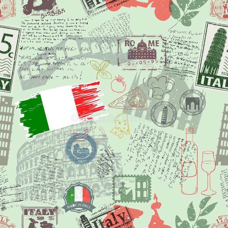 Simboli dell'Italia sul fondo del tessuto illustrazione vettoriale