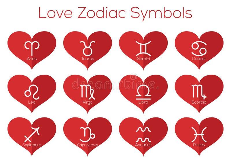 Simboli dell'oroscopo di amore Segni astrologici dello zodiaco Insieme di vettore della linea sottile piana icone nel cuore rosso royalty illustrazione gratis