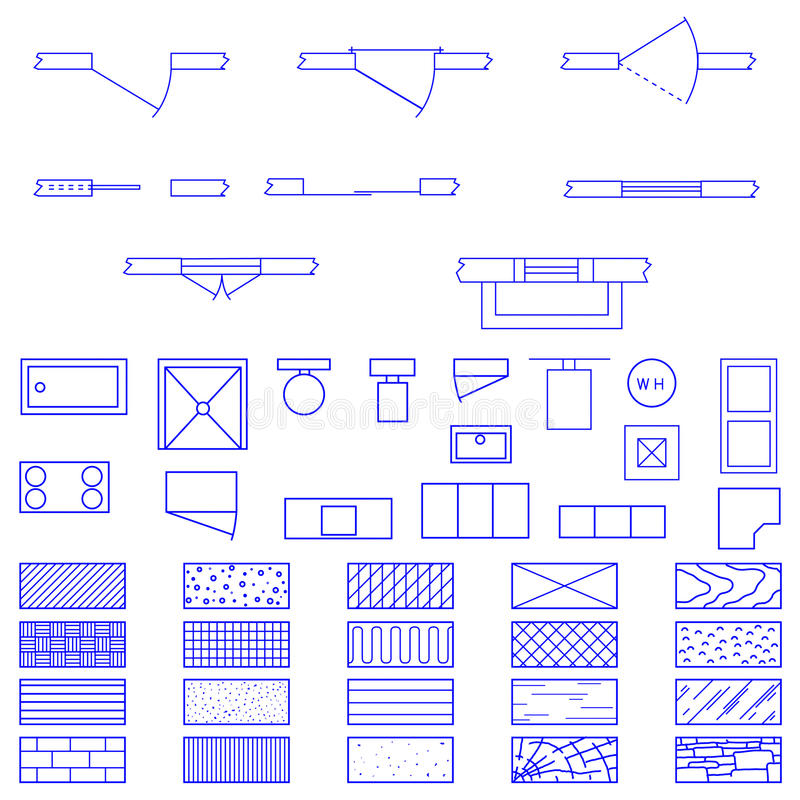 Simboli della cianografia usati dagli architetti illustrazione vettoriale