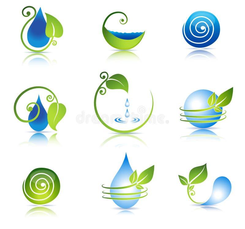 Simboli della foglia e dell'acqua illustrazione vettoriale