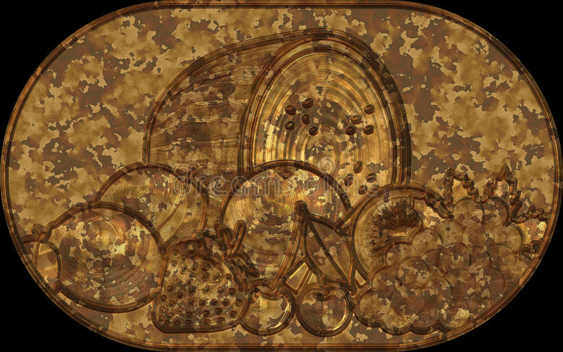 Simboli della frutta del piatto di sollievo del metallo royalty illustrazione gratis