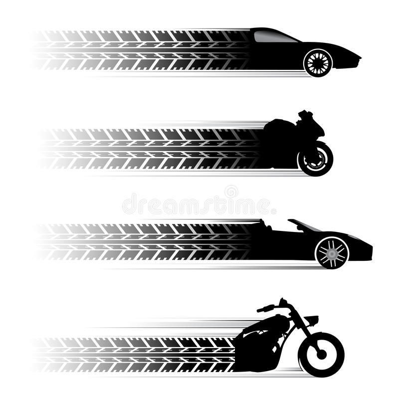 Simboli della motocicletta e dell'automobile illustrazione di stock