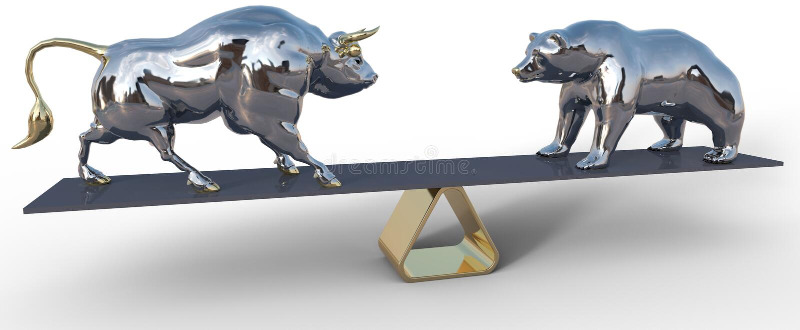 Simboli della scala del mercato azionario del ribassista e del toro fotografie stock libere da diritti