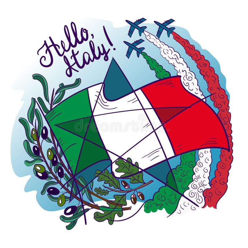 Simboli delle frecce tricolour di tricolori dell'Italia Frecce nel cielo, nel ramo di ulivo, nella quercia, nella bandiera e nell immagini stock