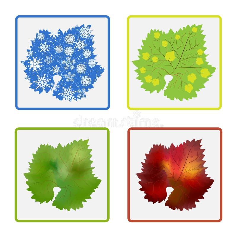 Simboli delle stagioni quadriennali royalty illustrazione gratis