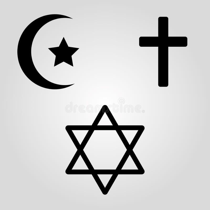 Simboli delle tre religioni del mondo Illustrazione di vettore illustrazione vettoriale