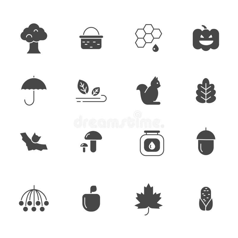 Simboli di autunno Icone monocromatiche di vettore messe dell'autunno illustrazione di stock
