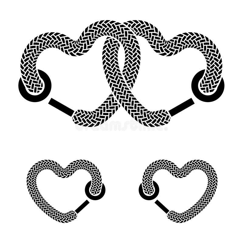Simboli di bianco del nero dei cuori collegati laccetto royalty illustrazione gratis