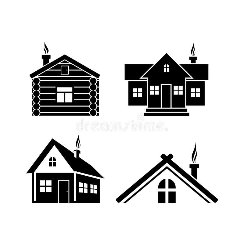 Simboli di campeggio La casa di ceppo ed il cottage e l'hotel royalty illustrazione gratis