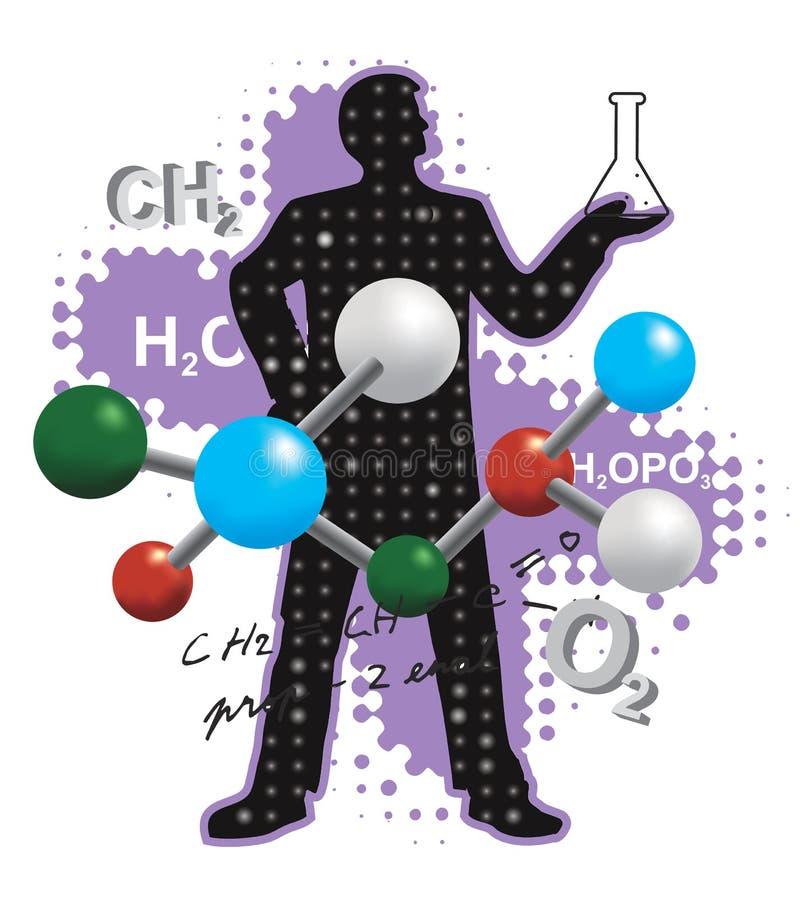 Simboli di chimica e del chimico illustrazione vettoriale
