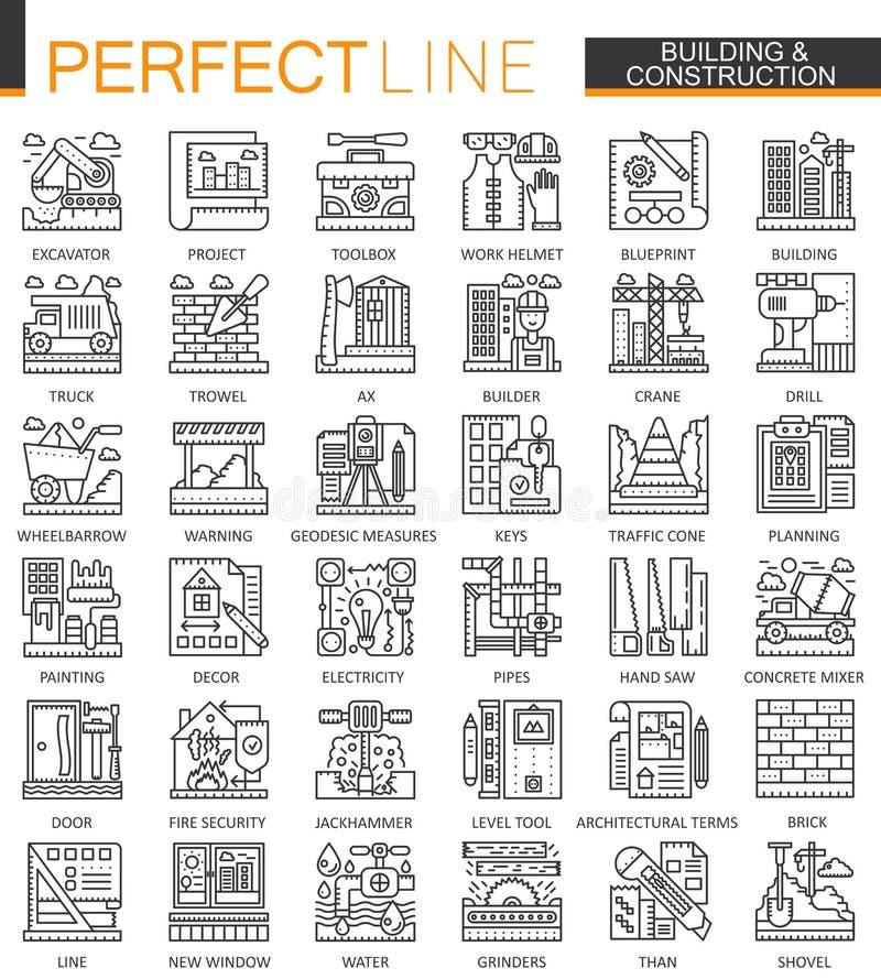 Simboli di concetto del profilo della costruzione e dell'edificio mini Illustrazioni lineari di stile di riparazione del colpo mo illustrazione vettoriale