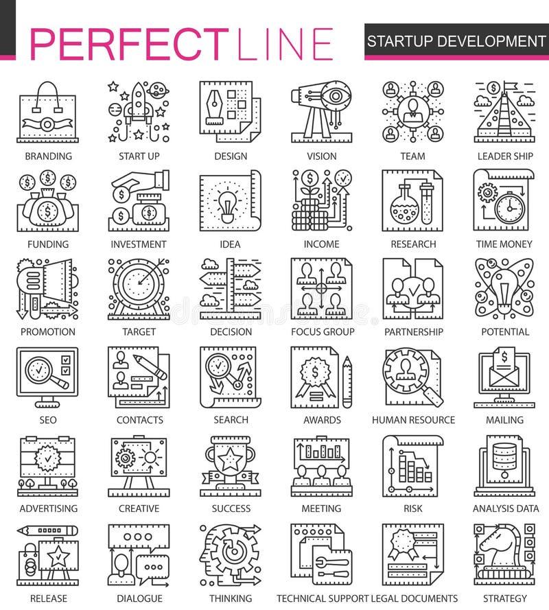 Simboli di concetto del profilo di sviluppo e della giovane impresa mini Illustrazioni lineari di stile del colpo moderno messe p illustrazione vettoriale