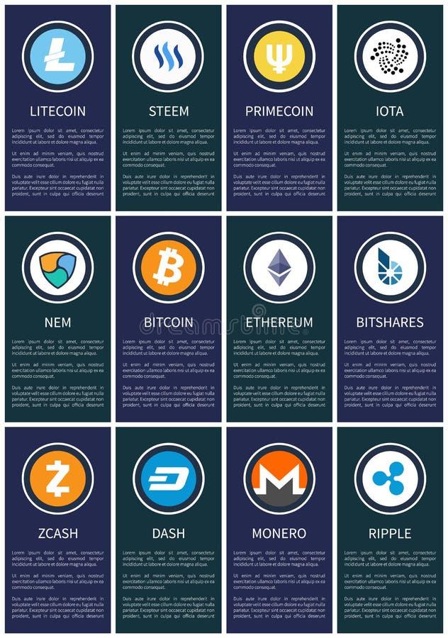 Simboli di Cryptocurrency sui manifesti promozionali messi illustrazione vettoriale