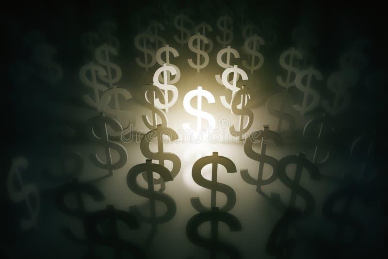 Simboli di dollaro di Illumintaed illustrazione vettoriale