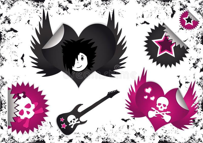 Simboli di Emo, distintivi dei contrassegni ed autoadesivi illustrazione vettoriale