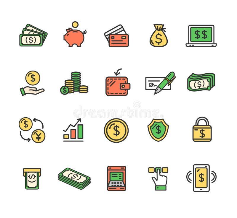 Simboli di finanza dei soldi e linea sottile insieme di colore dei segni dell'icona Vettore illustrazione di stock