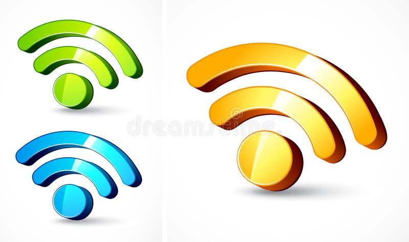 Simboli di formato dell'alimentazione di Web in 3D illustrazione di stock