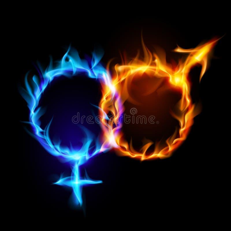 Simboli di fuoco di Venere e di Marte. illustrazione di stock
