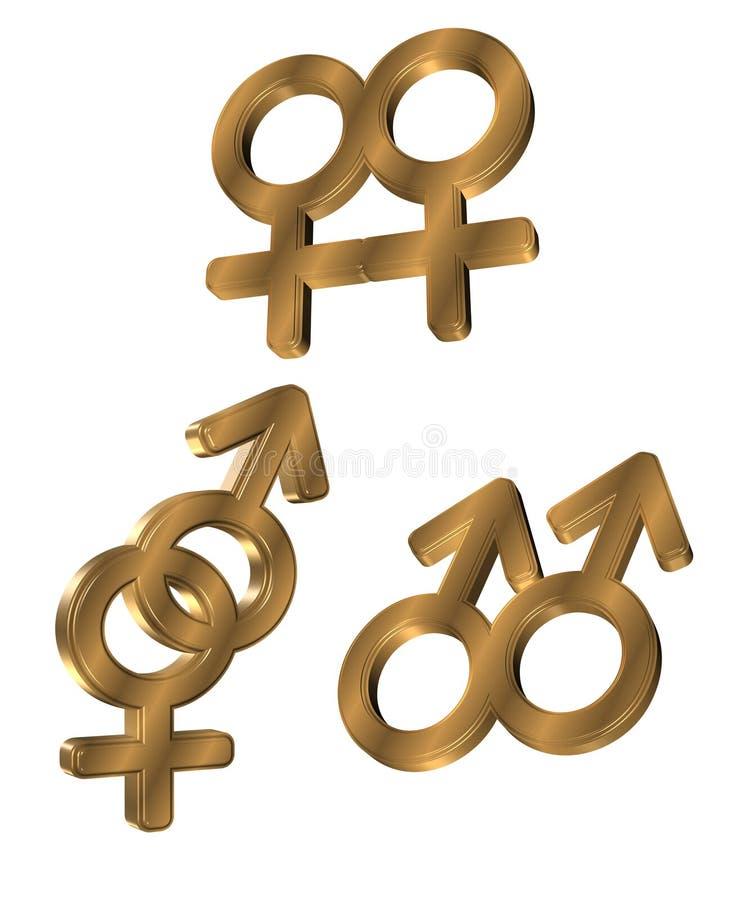 simboli di genere dell'oro 3D illustrazione vettoriale