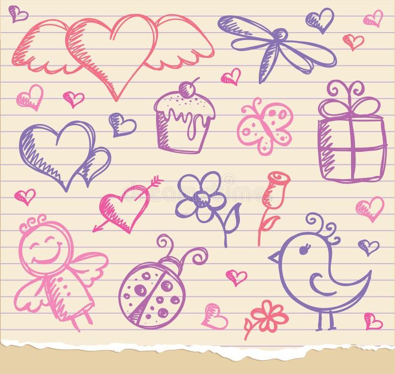 Simboli di giorno del biglietto di S. Valentino royalty illustrazione gratis