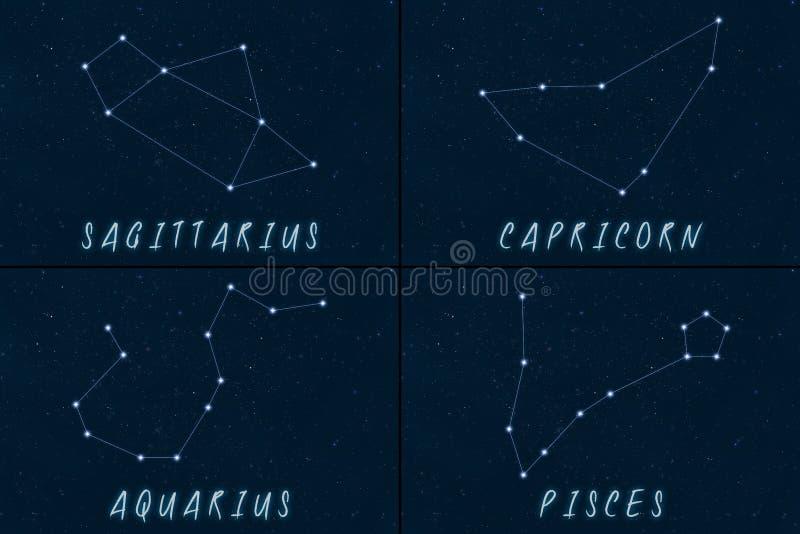 Simboli di horoscope delle costellazioni dello zodiaco illustrazione di stock