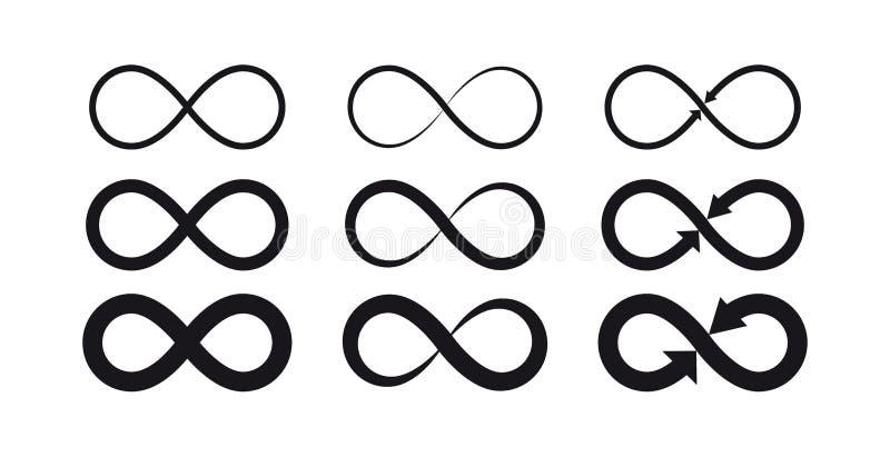 Simboli di infinito Logo eterno, illimitato, senza fine, di vita o concetto del tatuaggio royalty illustrazione gratis
