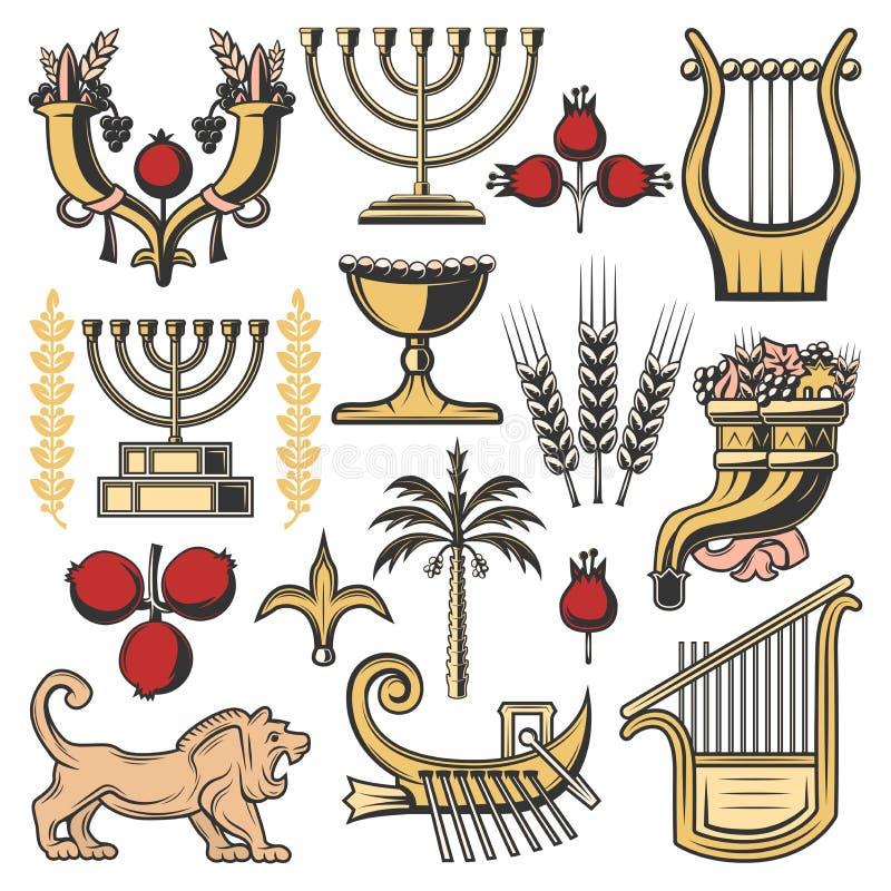Simboli di Israele della religione di judaism, cultura ebrea illustrazione di stock