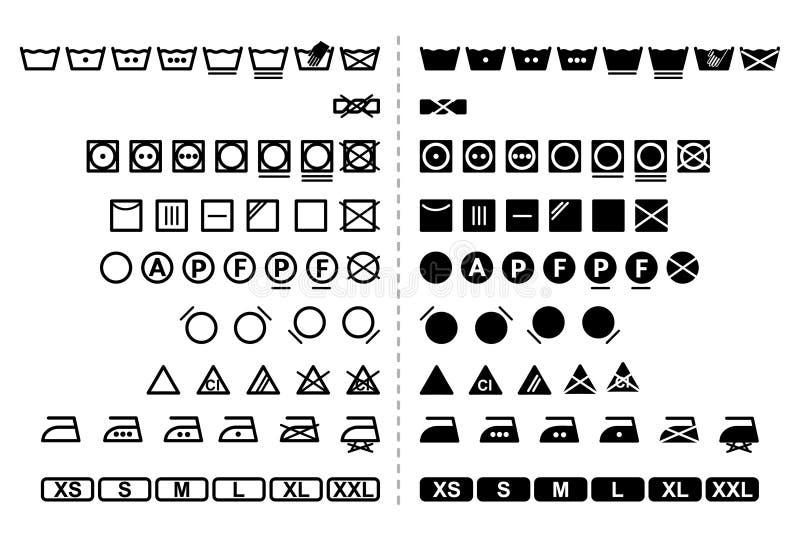 Simboli di lavaggio illustrazione vettoriale. Illustrazione di ...