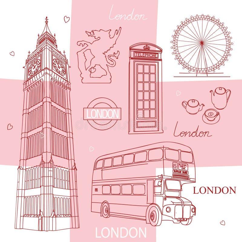 Simboli di Londra illustrazione vettoriale