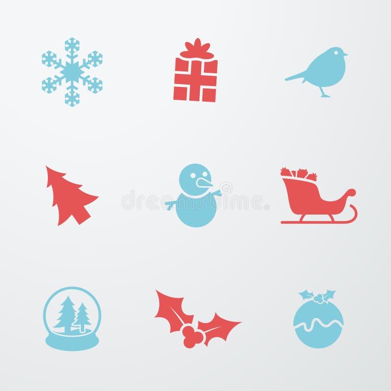 Simboli di Natale 9 icone messe illustrazione di stock