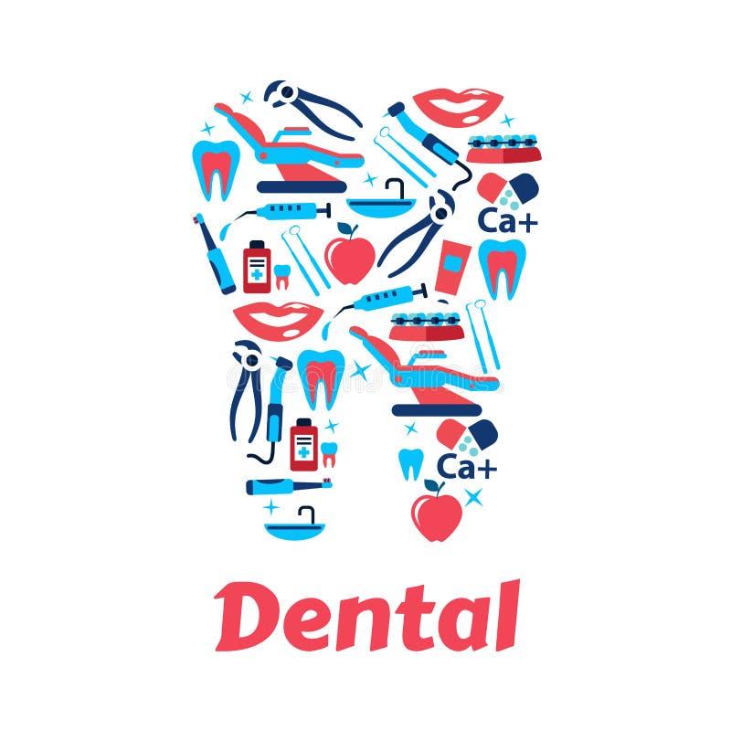Simboli di odontoiatria sotto forma del dente illustrazione vettoriale