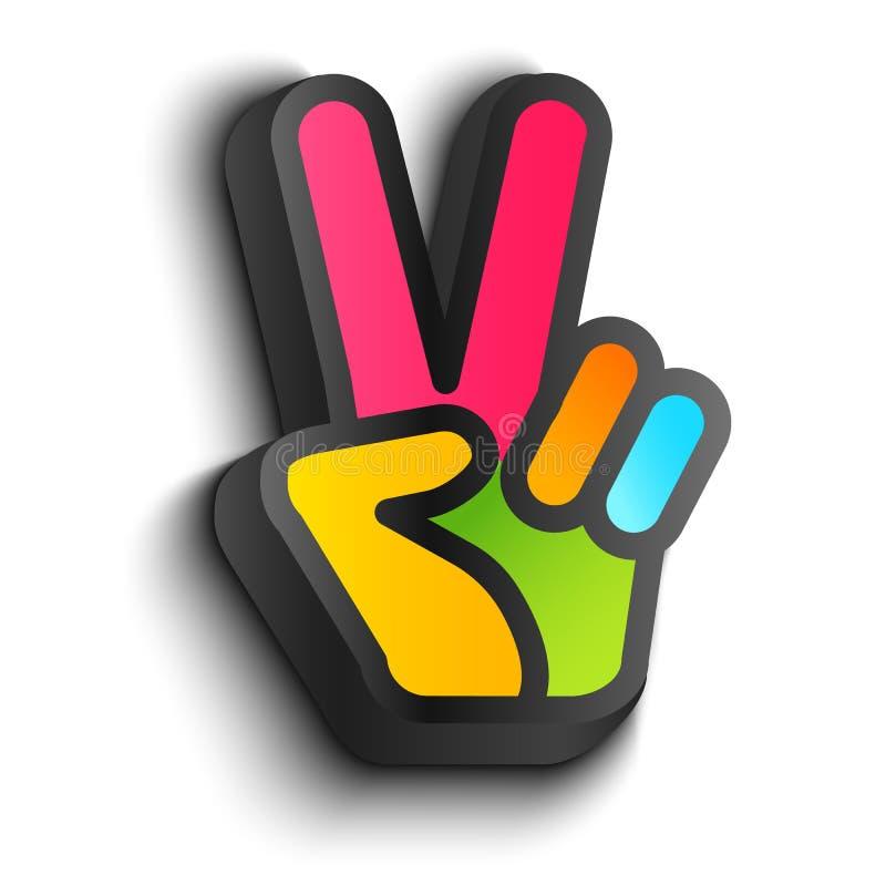 Simboli di pace e della mano illustrazione di stock