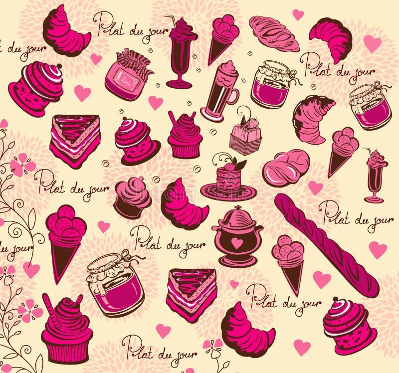 Simboli di Parigi. Reticolo culinario. illustrazione di stock