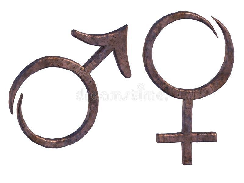 Simboli di rame forgiati stilizzati del maschio e della femmina royalty illustrazione gratis