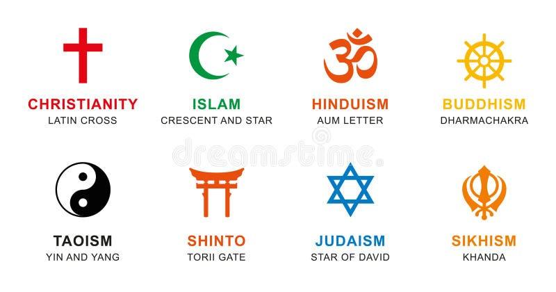 Simboli di religione del mondo colorati con l'etichettatura inglese royalty illustrazione gratis