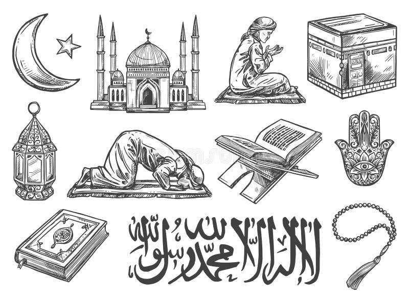 Simboli di religione di Islam ed icone culturali isolati royalty illustrazione gratis