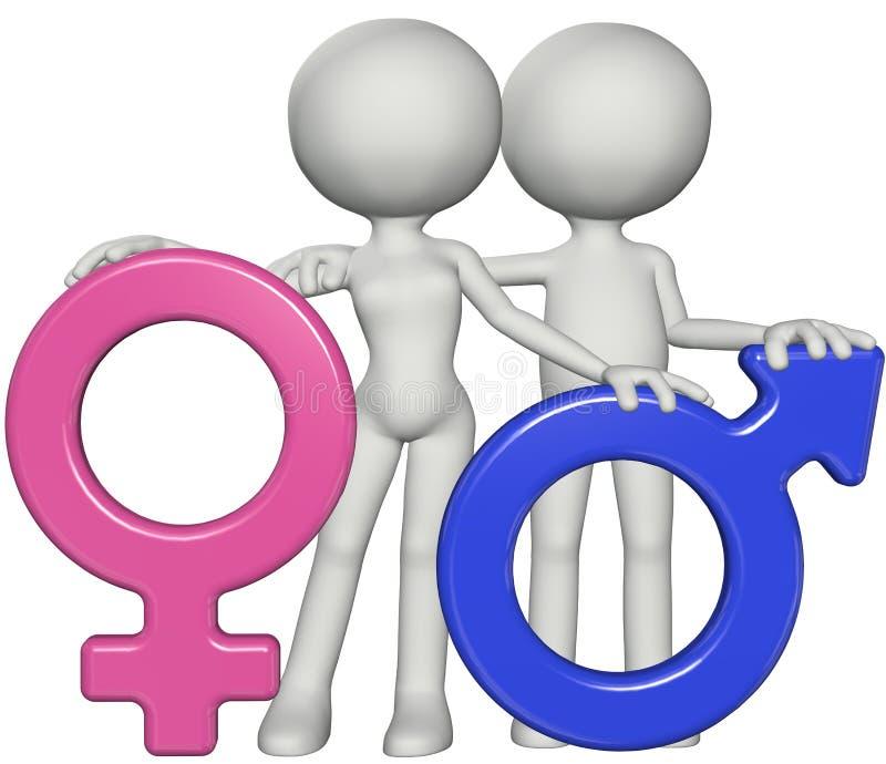 Simboli di sesso femminili maschii di genere della ragazza e del ragazzo illustrazione vettoriale