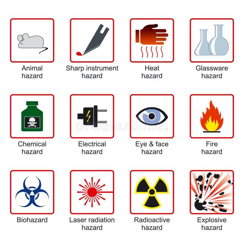 Simboli di sicurezza del laboratorio illustrazione vettoriale