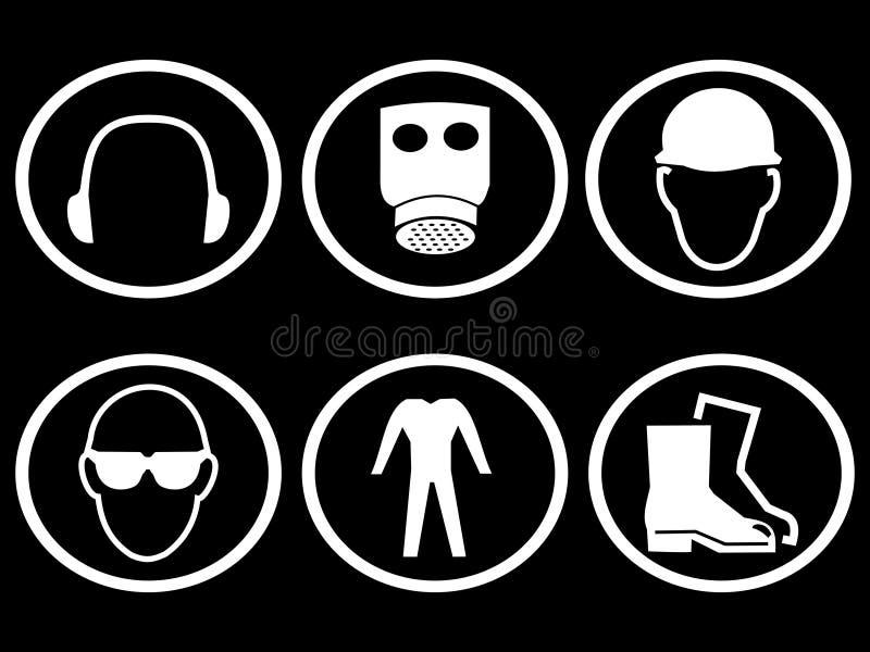 Simboli di sicurezza di costruzione illustrazione di stock
