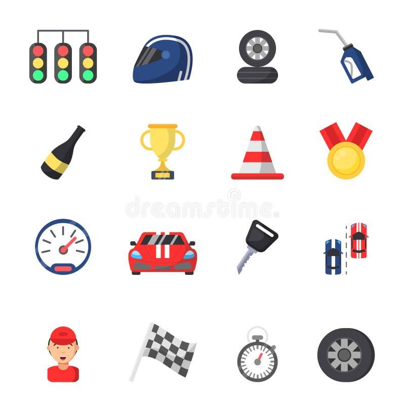 Simboli di sport di corsa Automobile, motore, pista ed altre icone piane illustrazione vettoriale