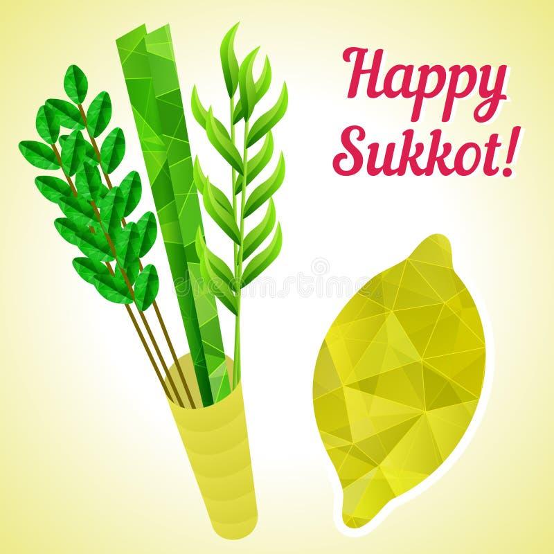 Simboli di sukkot - quattro specie - palma, salice, mirto, cedro del etrog Feste religiose ebree del nuovo anno royalty illustrazione gratis