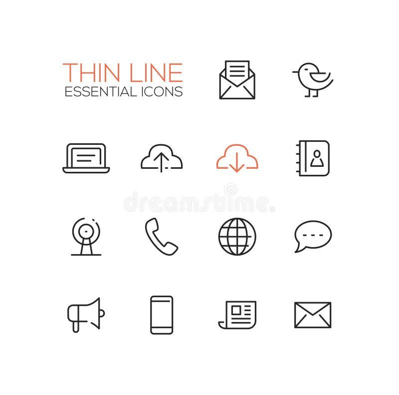 Simboli di tecnologia e della rete - linea spessa icone di progettazione messe royalty illustrazione gratis